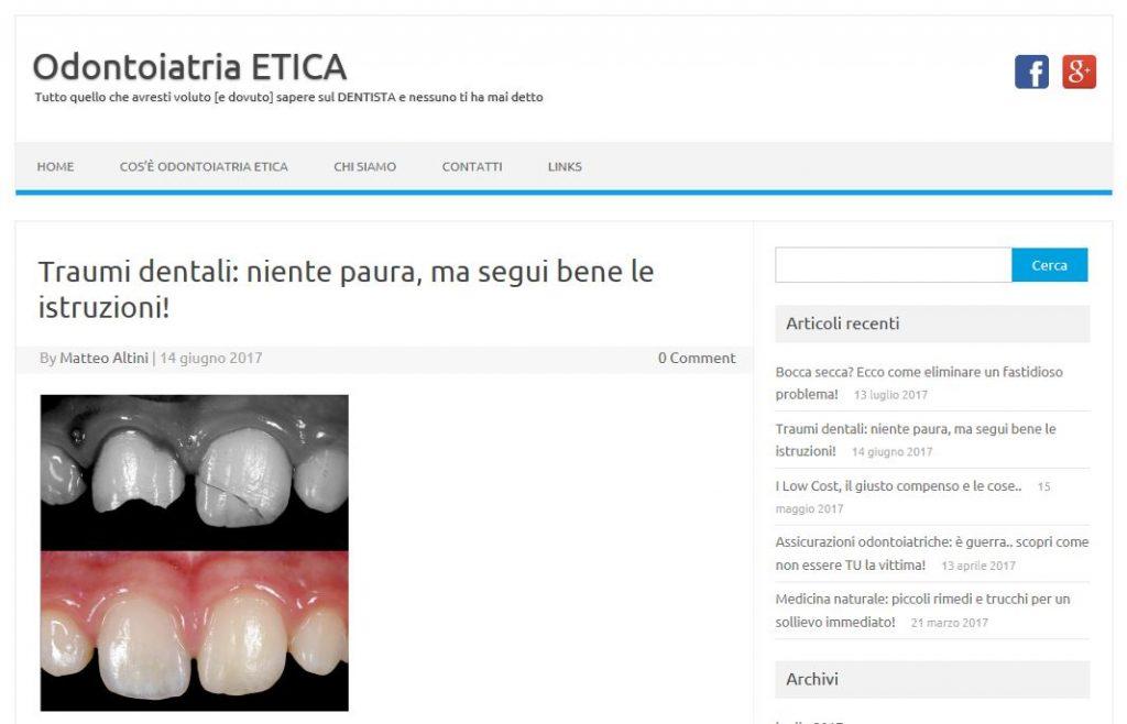 Cosa fare in caso di trauma ai denti? Nuovo articolo del Blog.